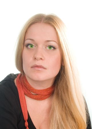 portrait of sad green-eyed blonde in black on white background photo