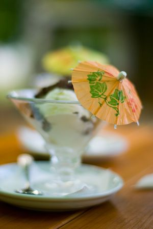 vanilla icecream outside at summertime photo