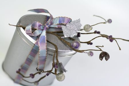 metall gift box with beautiful decoration Stock Photo - 3353485