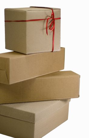 stack of cardboard boxes close up on white background photo