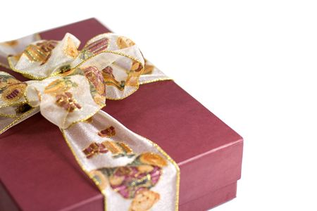 close up red gift box with beautiful ribbon photo