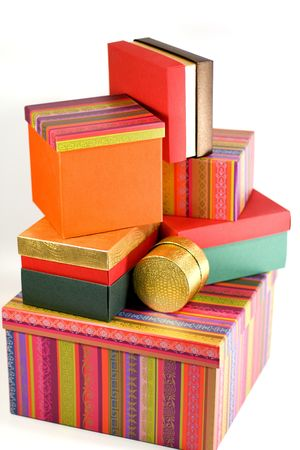 pile of different colorful gift boxes photo