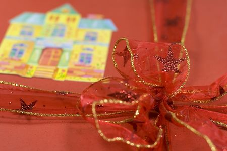 closeup of red present box with a bow photo