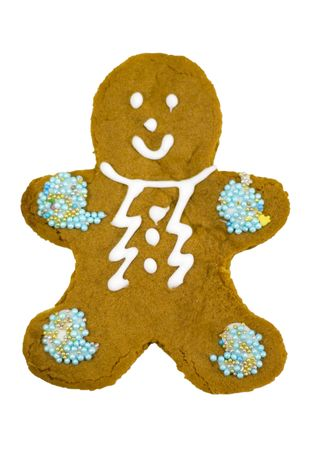 gingerbread man isolated on white background photo