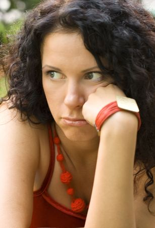 outdoor portrait of unhappy attractive brunet woman Stock Photo - 3496322