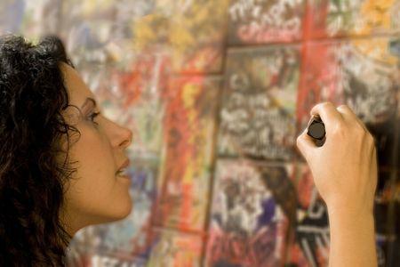 hoodlum: woman painting something on a brick wall Stock Photo