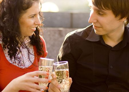 happy couple celebrating with champagne Stock Photo - 3496289