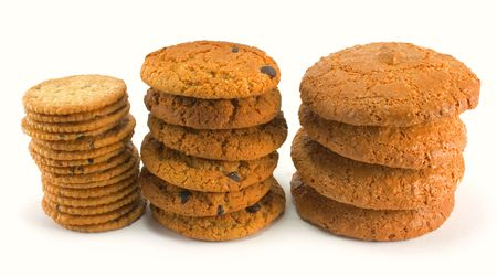 three stack of cookies isolated on white background photo