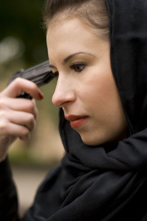 closeup portrait of suicide woman in black Stock Photo - 3643316