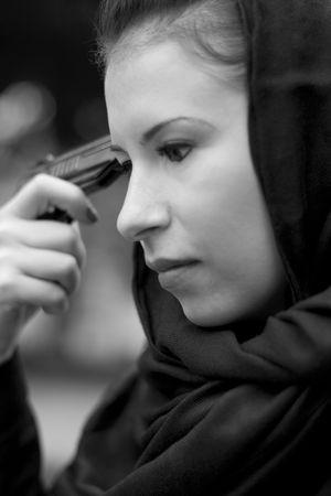 monochrome closeup portrait of suicide woman in black Stock Photo - 3643327