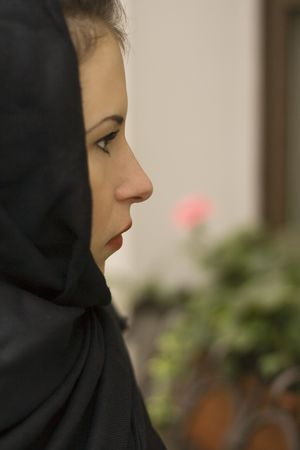 inconsolable: closeup portrait of inconsolable widow