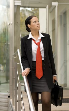 outdoor portrait of businesswoman with portfolio Stock Photo - 3664315