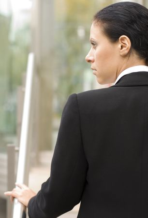 outdoor closeup portrait of businesswoman in black Stock Photo - 3682061