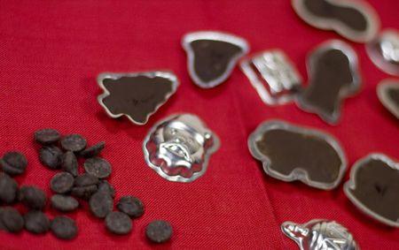 sweetness: handmade chocolate sweets on red napkin Stock Photo