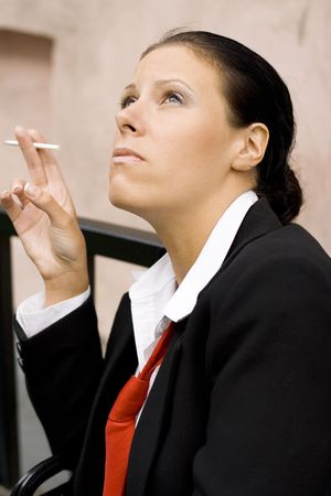 portrait of businesswoman with cigarette Stock Photo - 3701399