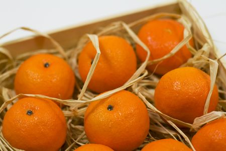 tangerines with straw in wooden box Stock Photo - 3725332