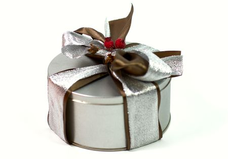 metal gift box with beautiful bow on white background Stock Photo - 3762230