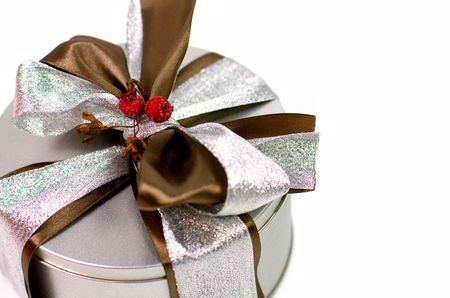 metal gift box with beautiful bow closeup Stock Photo - 3762250