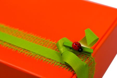 closeup of red gift box with modern decoration photo