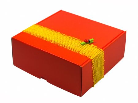 red gift box with modern decoration on white Stock Photo - 3797574