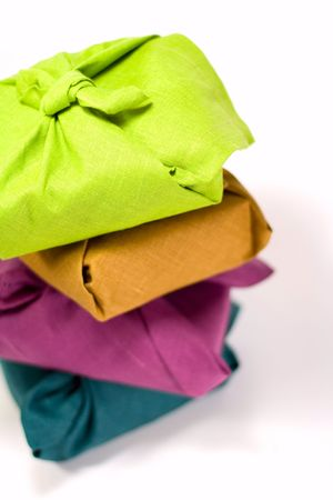 stack of colorful gift boxes closeup on white background Stock Photo - 3868856