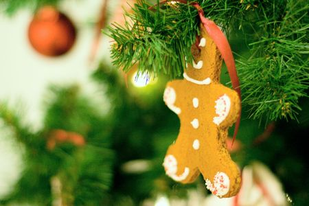 gingerbread man in the christmas tree photo