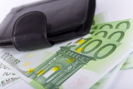euro and a leather purse closeup Stock Photo - 4185274