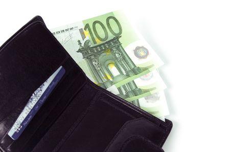 euro and a leather purse closeup photo