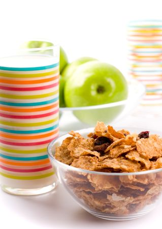 healthy breakfast: cornflakes, glass of milk and green apples Stock Photo - 4196884
