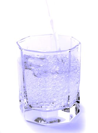 water in glass on white background photo