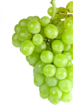 unpicked: green grapes closeup on white background Stock Photo