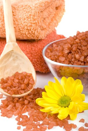 spa pruducts: bath salt, oil balls, towels and flower Stock Photo - 4286994