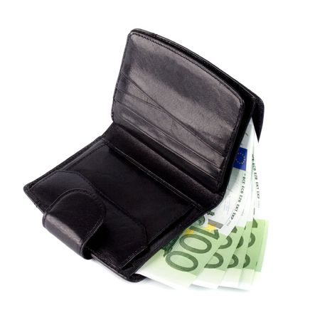 euro and a leather purse isolated on white background photo