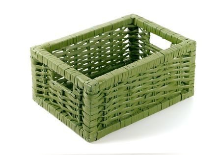 empty green basket on white background photo