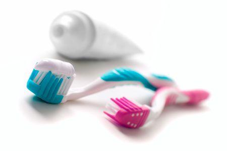 tand pasta en tanden borstels closeup. tandheelkundige verzorging