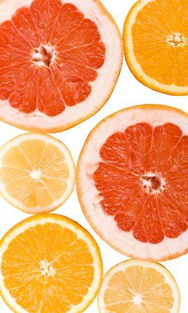slices of an lemon, orange and grapefruit background photo
