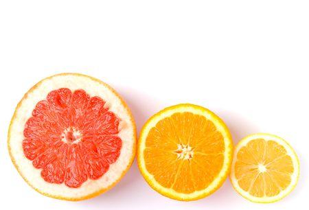 slices of an lemon, orange and grapefruit on white background Stock Photo - 4306515