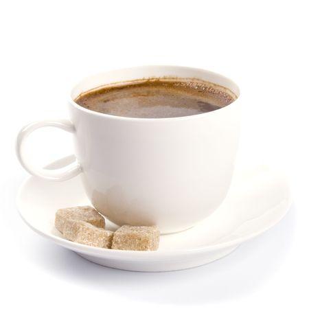 Koffiekopje en suiker op een witte achtergrond  Stockfoto - 4325809