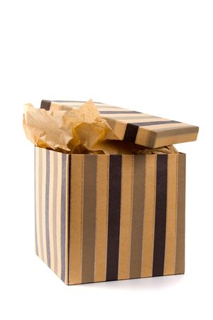 isolated open gift box with craft paper inside photo