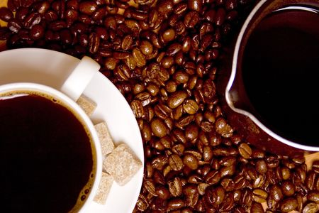 coffee with shugar, caffee-maker over beans background Stock Photo - 4362886