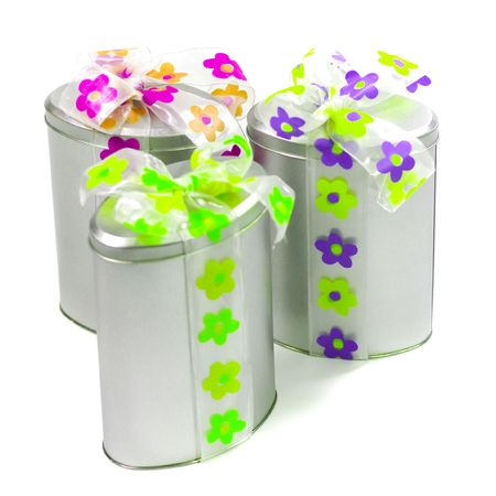 tree beautiful metal gift boxes with colorful bows photo