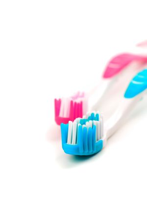 two toothbrushes on white background Stock Photo - 4376908