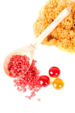 spa products: natural sponge, bath salt and oil balls photo