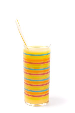 orange juice in glass on white background photo