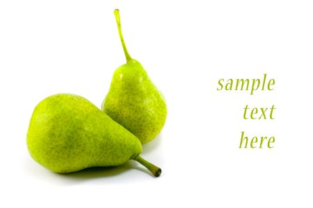 two fresh pears isolated on white background photo