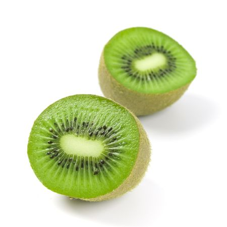 kiwi halves on white background Stock Photo - 4408029