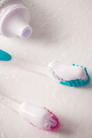 toothpaste and toothbrushes closeup. dental care Stock Photo - 4407379