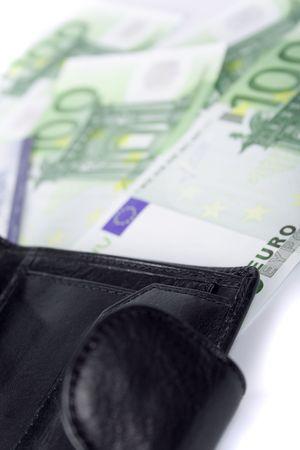 leather purse and euro closeup photo