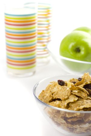 healthy breakfast: cornflakes, glass of milk and green apples Stock Photo - 4434009
