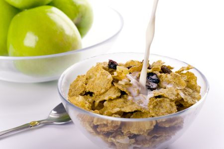 healthy breakfast: cornflakes with milk and green apples Stock Photo - 4456517